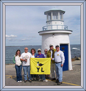 Midway on the Marginal Way at Ogunquit, Maine ~ Rachel, John, Carlene, Carolyn with the Yellowstone Loon Flag, Renee, Victor, Skeets, © Skeets